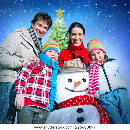 Family Christmas Holiday Winter Happiness Concept - stock photo