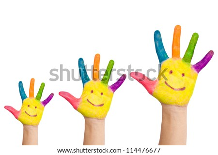 Family concept. Three colorful painted hands with smiling face of family, mother, father and baby. Small, medium and large hand. Symbol unity, growth, ready for your logo. Isolated on white background - stock photo