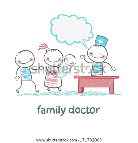 family doctor treats the mother, father and child - stock photo