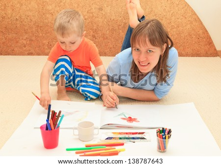 family drawing, early education concept - stock photo