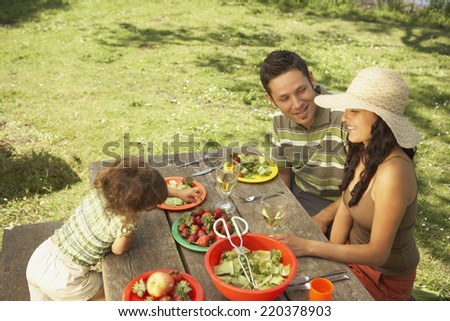 Family eating on a picnic table outdoors - stock photo