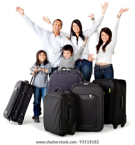 Family excited about a trip with bags - isolated over a white background - stock photo
