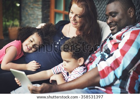 Family Father Mother Son Daughter Brother Sister Love Concept - stock photo