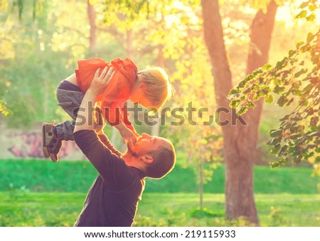 family father with son - stock photo