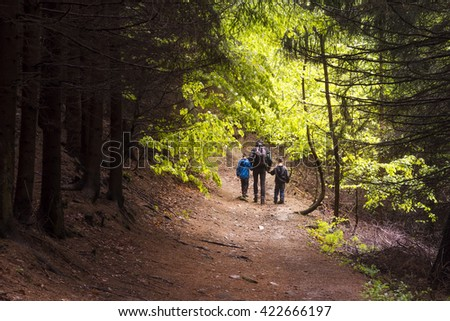 Family, father with two children hiking through a forest, back view - stock photo