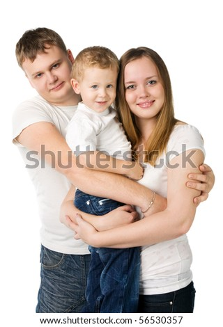 Family from three persons in white T-shirts with the child on hands, isolated on white - stock photo