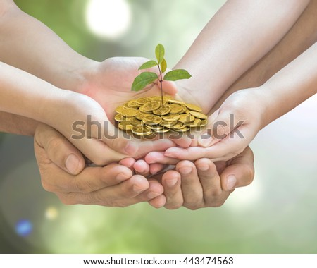 Family hands seedling money together: Parent & children planting tree on gold coins on blur nature greenery background: World environment day eco bio CSR ESG ecosystems reforestation reform concept - stock photo