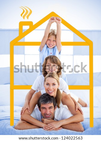Family having fun in the bedroom with yellow house illustration - stock photo
