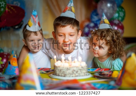 family holiday birthday, horizontal picture - stock photo