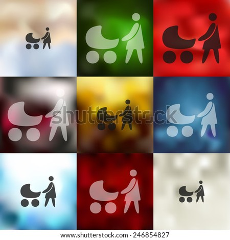 family icon on blurred background - stock photo