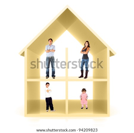 Family in a 3D home illustration - isolated over a white background - stock photo