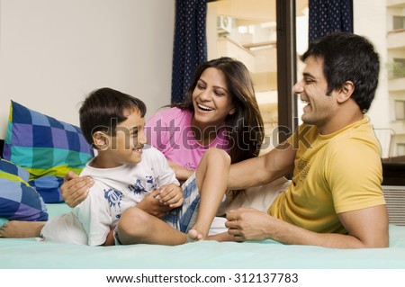 Family in a playful mood - stock photo