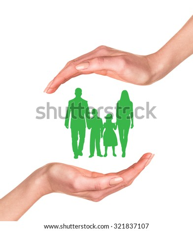 Family in hands isolated on the white background - stock photo