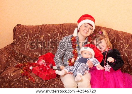 family in red hats - stock photo