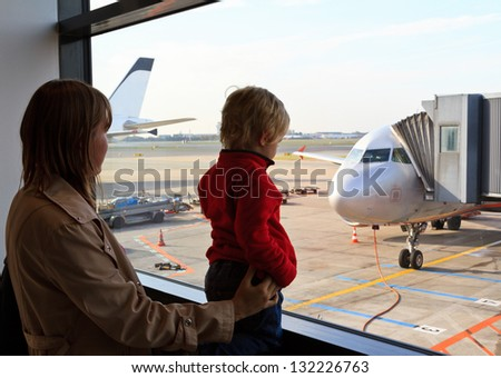 family in the airport - stock photo
