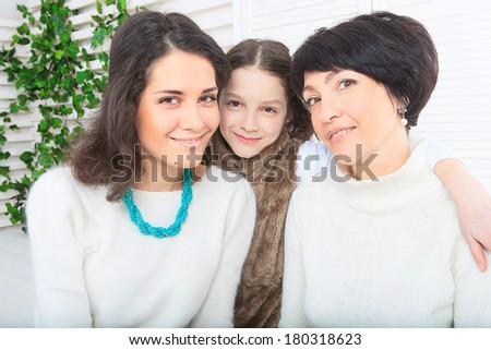 Family in the garden - stock photo