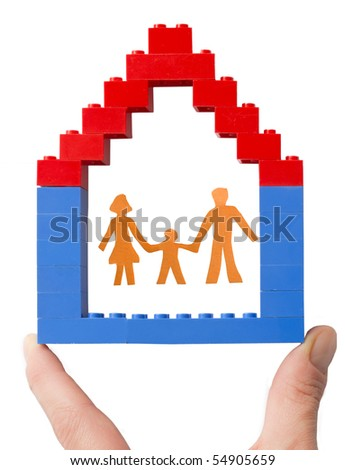 family in the house - stock photo