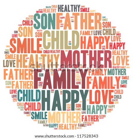 Family info-text graphics and arrangement concept on white background (word cloud) - stock photo