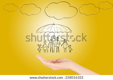 Family life insurance,Property insurance and security concept , Protecting. Open hand making a protection gesture  isolated on yellow background. - stock photo