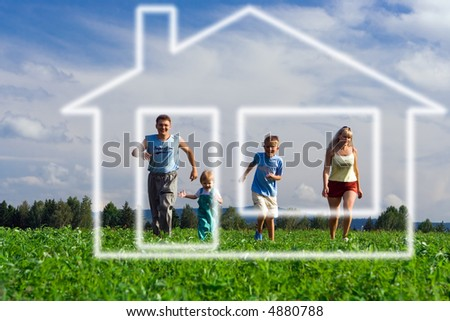 family mother father and two child run to home of dream under blue sky - stock photo