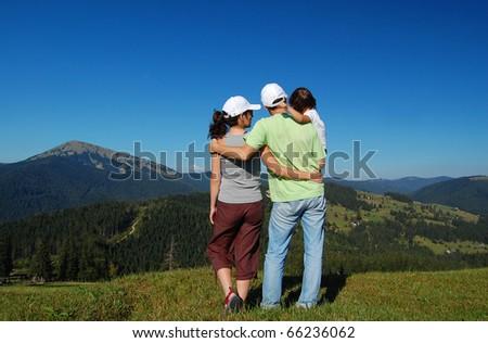 Family mountain vacation - stock photo