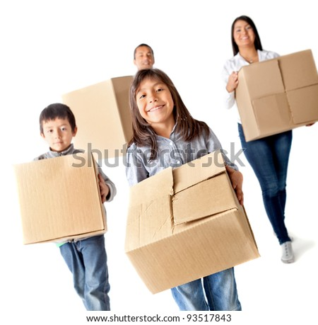 Family moving home carrying carton boxes - isolated over a white background - stock photo