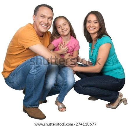 Family, Multi-Ethnic Group, Isolated. - stock photo