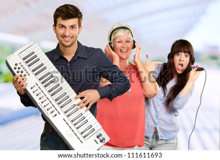 Family Musical Band, Background - stock photo
