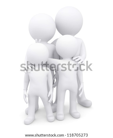 Family of four white men. Isolated render on a white background - stock photo