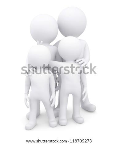 Family of four white men. Isolated render on a white background - stock photo