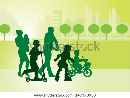 Family on a walk with the children in the urban park  - stock photo