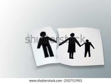 family on a white torn paper  background - stock photo