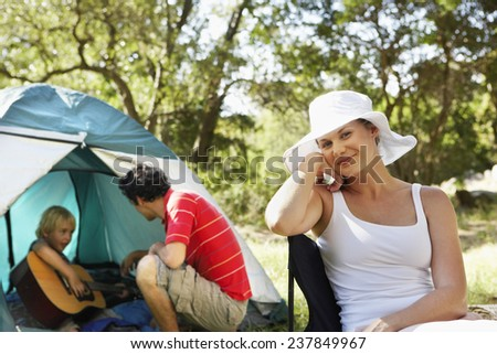 Family on Camping Trip - stock photo