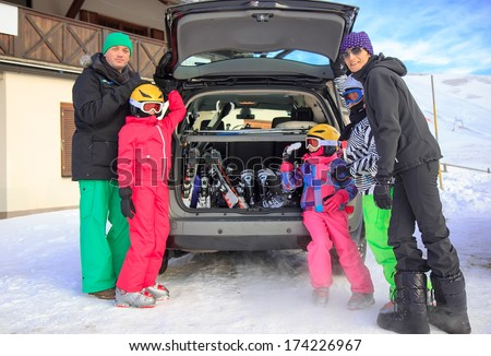Family on the winter vacation  - stock photo