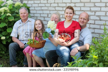 family outdoor - stock photo