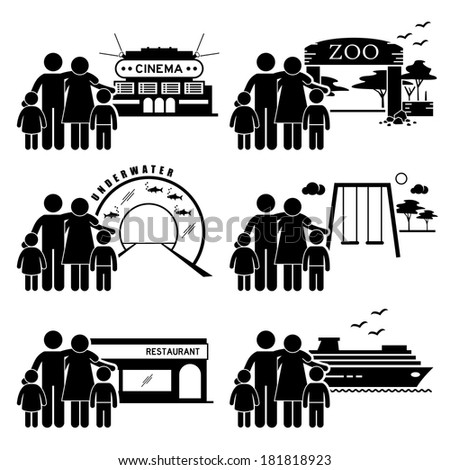 Family Outing Activities - Cinema, Zoo, Underwater Theme Park, Playground, Restaurant Dining, Holiday Cruise Ship - Stick Figure Pictogram Icon Clipart - stock photo
