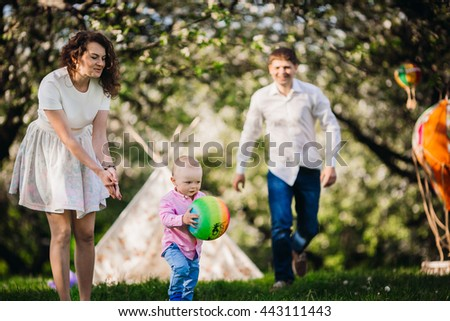 Family outing in the nature - stock photo