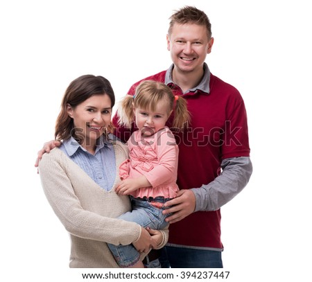 family photo of mother, father and daughter - stock photo