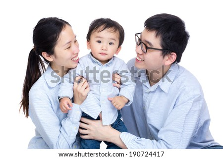 Family photo with baby son - stock photo