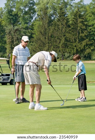 Family Playing Golf - stock photo