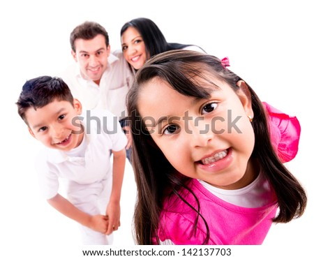 Family playing hide and seek - isolated over a white background - stock photo