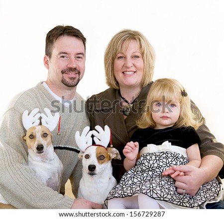 Family Portrait at Christmas - stock photo