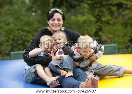 Family portrait in the open outdoors. - stock photo
