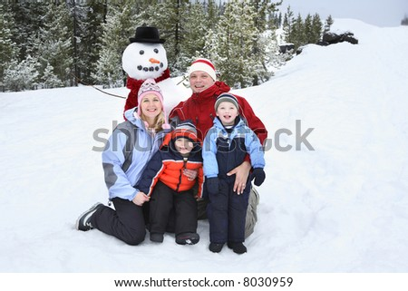 Family Portrait in the snow - stock photo