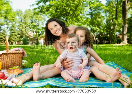 Family portrait - mother with children - stock photo