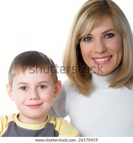 Family portrait of mum with the son - stock photo