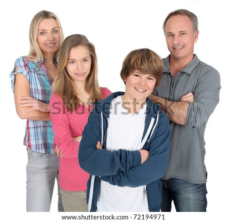 Family portrait standing on white background - stock photo