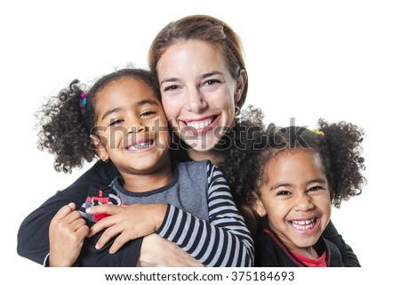 family posing on a white background studio - stock photo