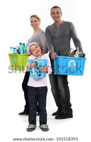 Family Recycling - stock photo