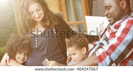 Family Relax Happiness Using Tablet Togetherness Concept - stock photo